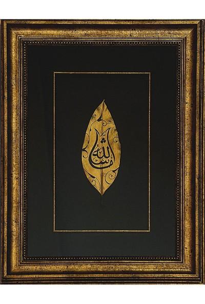 Bedesten Pazar Islami Tablo 38x50 cm Hat Sanatı El Yapımı Dekoratif Çerçeveli Yaprak Üzeri ''maşaallah''