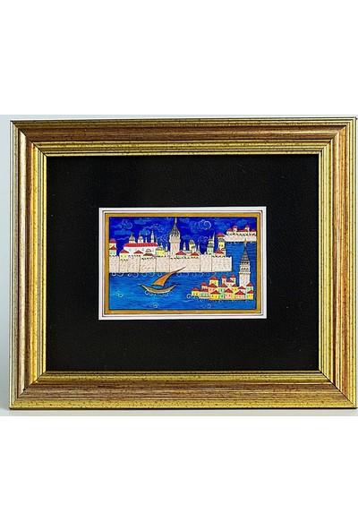 Bedesten Pazar Minyatür 25x20 cm El Yapımı Dekoratif Çerçeveli Topkapı Sarayı ve Kız Kulesi Gündüz
