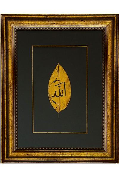 Bedesten Pazar Islami Tablo 36x36 cm Hat Sanatı El Yazması Dekoratif Çerçeveli Yaprak Üzeri ''allah''