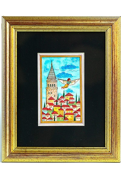 Bedesten Pazar Minyatür 25x20 cm El Yapımı Dekoratif Çerçeveli Galata Kulesi ve Hazerfen