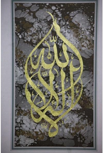 Bedesten Pazar Islami Tablo 66x88 cm El Yazması Hat Sanatı Çerçevesiz ''kelime-I Tevhid''