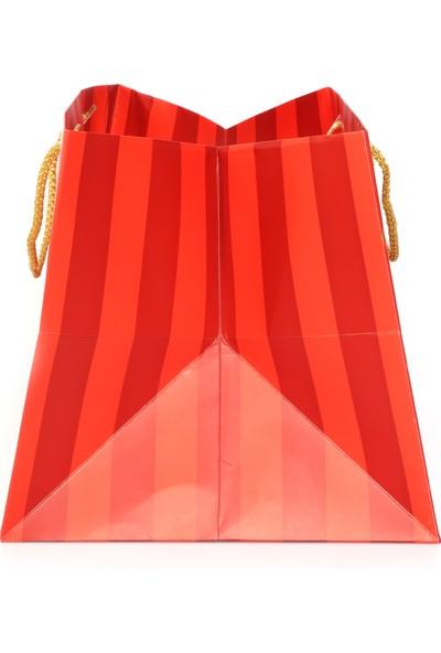 Ambalaj Hikayeleri Yılbaşı Özel Kırmızı Gold Yaldızlı 10 Adet Karton Çanta