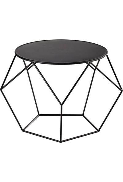Marlin Home Design Aedon Yuvarlak Siyah Metal Orta Sehpa