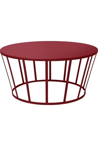 Marlin Home Design Hollo Kırmızı Yuvarlak Orta Sehpa Metal