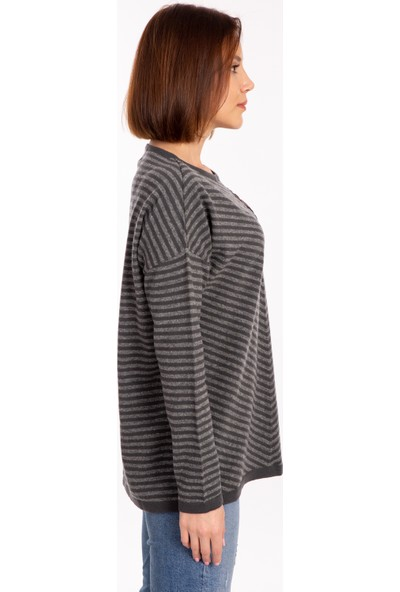 Desen Triko Iki Renk %100 Yün Düşük Kol Kadın Triko Bluz