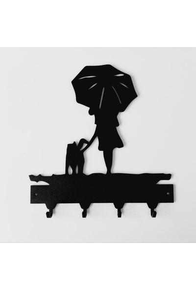 Foccaa Dizayn Metal Anahtar Askılık Şemsiyeli Kız ve Köpeği