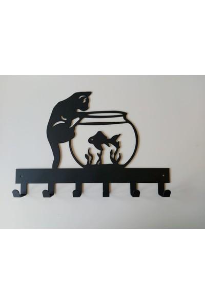 Foccaa Dizayn Metal Kapı Arkası Dekoratif Elbise Askılık Kedi- Balık