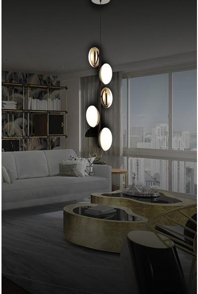 Luna Lighting Modern Luxury Sarkıt 5'li Sarı LED Avize