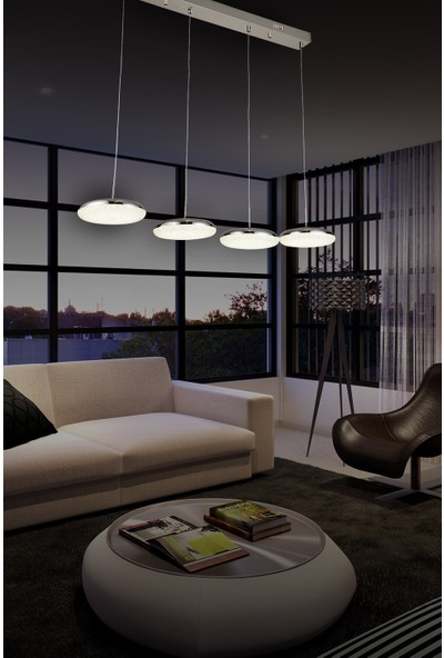 Luna Lighting Modern Luxury Sarkıt Sıralı 4'lü Krom LED Avize