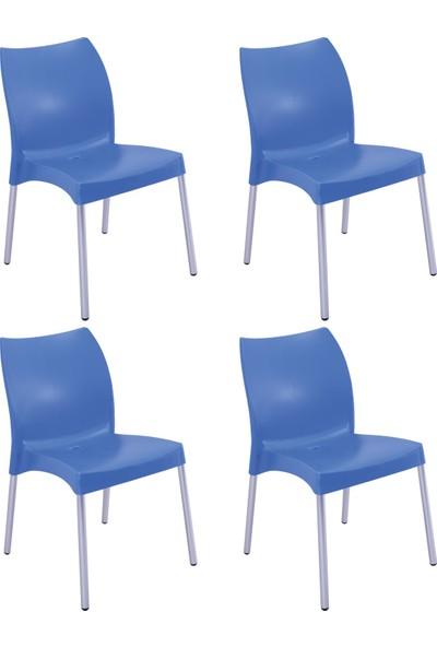 Romanoset Hilal Metal Ayaklı Plastik Sandalye 4 Lü Set