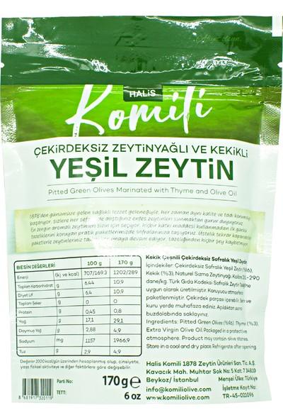 Komili Çekirdeksiz Zeytinyağlı ve Kekikli Yeşil Zeytin 3 x 170g