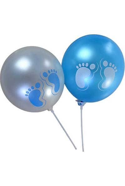 """Balon Evi 12"""" Metalik Minik Ayaklar Mavi Beyaz Balon 14 Lü"""