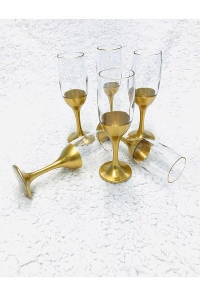 Renkli Cam MIS535 Gold Ayaklı Kahve Yanı Su Bardağı 6 Kişilik