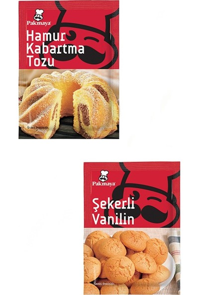 Pakmaya 10'lu Ekonomik Set ( Şekerli Vanilin 10 x 5 gr + Hamur Kabartma Tozu 10 x 10 gr )