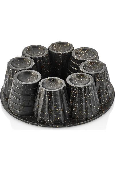 Linanca Cup Granit Döküm Kek Kalıbı Blackgold 26 cm