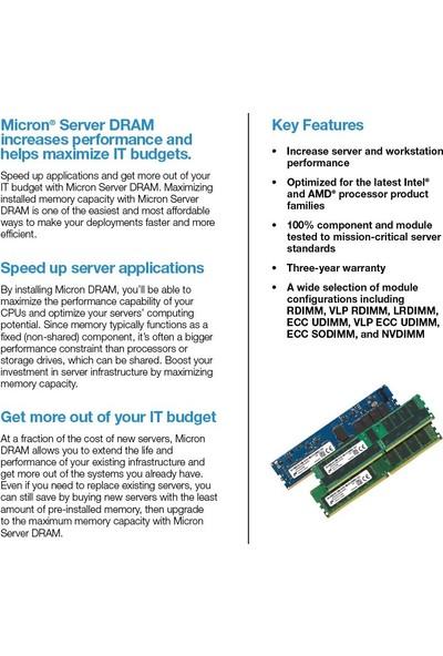 Micron Server Ram Ddr4 Rdımm (1X16GB) 1rx8 3200 CL22 MTA9ASF2G72PZ-3G2E1