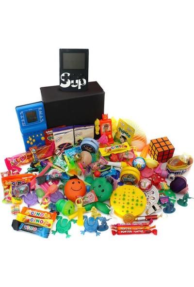 Nostaljik Lezzetler Özel Gıda ve Oyuncak Kutusu , Mavi Tetris ve Siyah Atarili