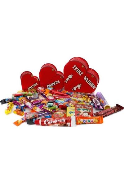 Nostaljik Lezzetler Sevgiliye Özel 3 Lü Nostaljik Ahşap Kalp Kutu