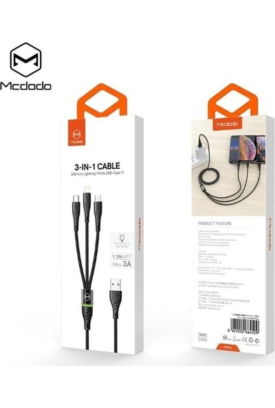 Mcdodo CA-6450 3in1 iPhone Type-C Micro USB 3A Şarj Kablosu 1.2m