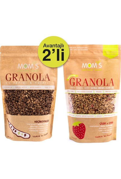Mom's Natural Foods Ikili Granola Çilek Chia 360 gr + Kakao Fındık 360 gr