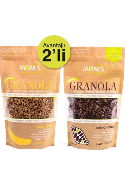 Mom's Natural Foods Ikili Granola Muz Ceviz 360 gr + Kakao Fındık 360 gr