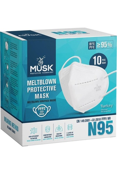 Musk Ffp2 N95 Koruyucu Maske - 10 Adet