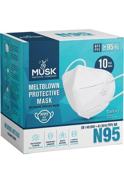Musk Ffp2 N95 Maske Meltblowlu - 100 Adet