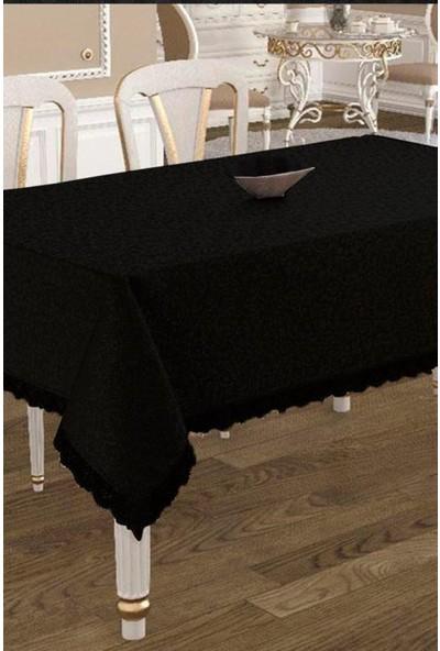 Köşem Çeyiz Kdk Kumaş Leke Tutmaz Dertsiz Masa Örtüsü 160X220 cm Siyah