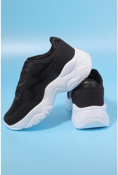 Dark Step Kadın Siyah Beyaz Günlük Spor Ayakkabı