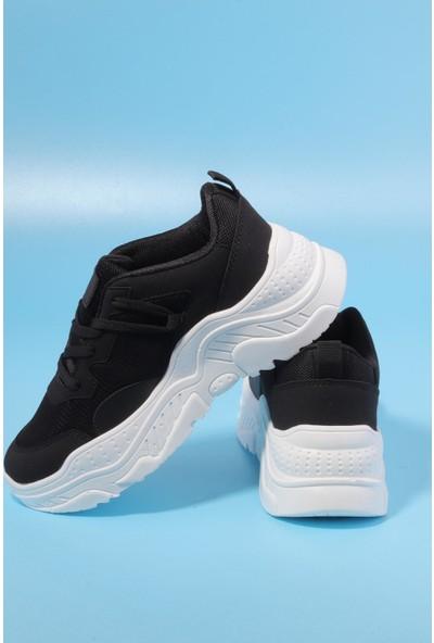 Dark Step Kadın Siyah Beyaz Günlük Spor Ayakkabı ST0044