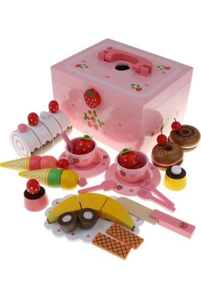 Baby Muma Ahşap Oyuncak Pasta Seti - Strawberry Ice Cream Box
