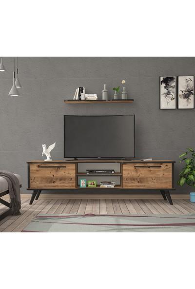 Ankara Mobilya Boreas Atlantik Çam Siyah 140 cm Tv Sehpası