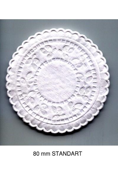 1001ambalaj Bardak Altlık Dole Beyaz Renk 8 cm Renksiz Gofre Baskılı 250'LI