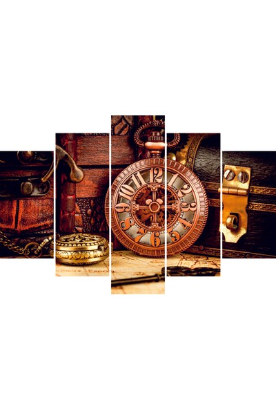 Nirvana Vintage Saat Temalı 5 Parçalı Tablo