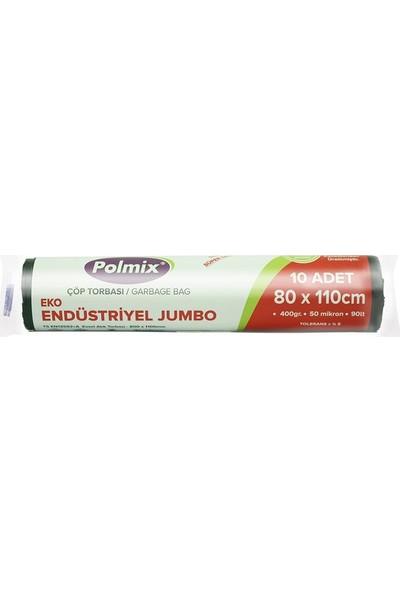 Polmix Çöp Torbası Endüstiriyel Jumbo Boy 400 gr 80 x 110 50 Mikron Siyah 1 Koli 20 Paket