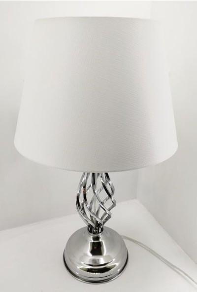 365gunserisonu Gümüş Gri Rustik Burgulu Taşlı Metal Ayaklı 30'luk Beyaz Şapkalı Abajur Masa Lambası