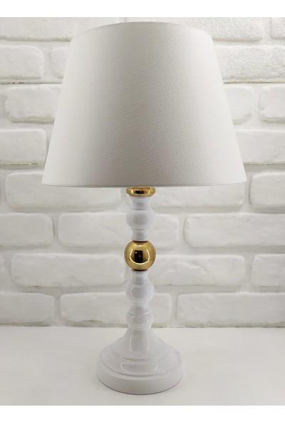 365gunserisonu Beyaz Rustik Gold Renk Toplu Metal Ayaklı 30'luk Silebilen Beyaz Şapkalı Abajur Masa Lambası