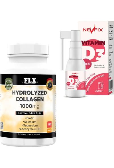 Nevfix Kolajen Koenzim 180 Tablet & Vitamin D3 400 Iu 20 ml