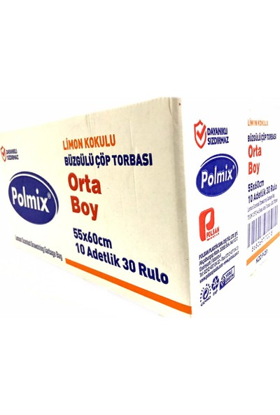 Polmix Büzgülü Çöp Poşeti Orta Boy 55 x 60 Mikron Limon Kokulu Sarı 1 Koli 30 Paket