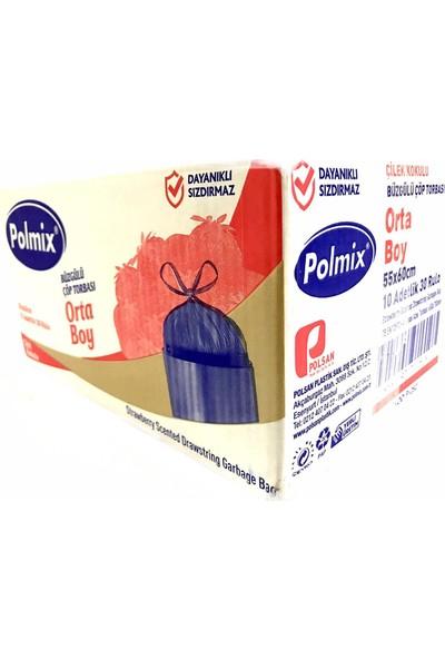 Polmix Büzgülü Çöp Poşeti Orta Boy 55 x 60 Mikron Çilek Kokulu Pembe 1 Koli