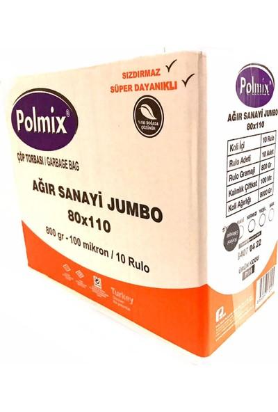 Polmix Çöp Torbası Ağır Sanayi Jumbo Boy 800 gr 80 x 110 100 Mikron Siyah 1 Koli 10 Paket