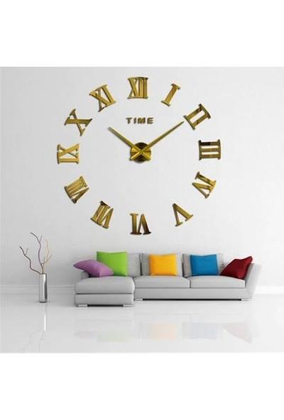 Zeepmax 3D Ayna Roma Rakamlı Duvar Saati Dekoratif Saat