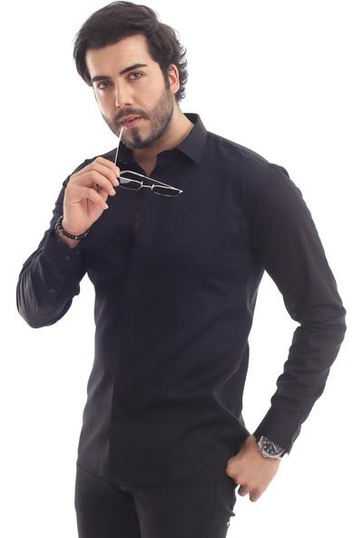 Altegro %100 Pamuk Saten Siyah Erkek Gömleği