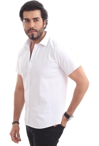 Altegro Süper Slim Fit Kısa Kollu Beyaz Erkek Gömlek