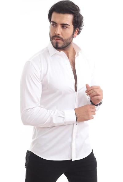 Altegro %100 Pamuk Saten Beyaz Erkek Gömleği