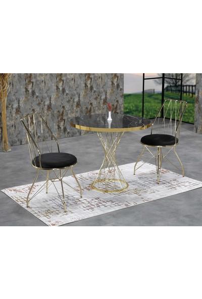 Ressahome Fesla 2 Kişilik Siyah Mermerli Gold Oval Mutfak Masası Takımı