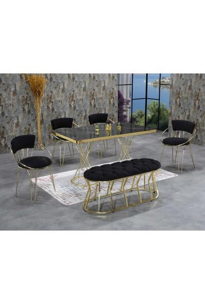 Ressahome Milano 4 Kişilik + Puflu Siyah Mermerli Mutfak Masası Takımı