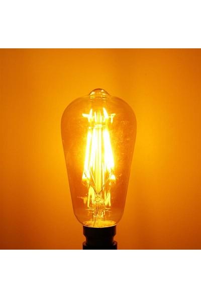 Vie Rustik 3 Adet 6W LED Ampul E27 Duy ST64 Armut Tipi Amber