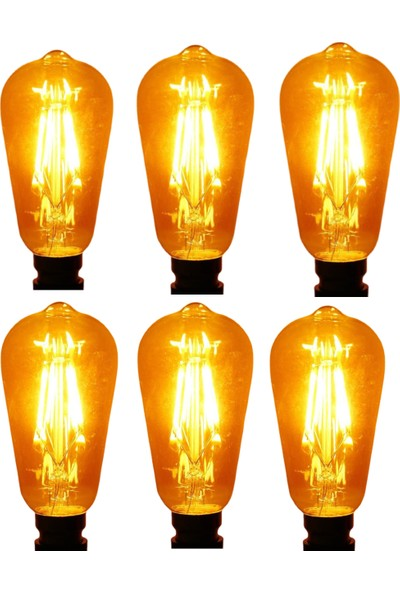 Vie Rustik 6 Adet 6W LED Ampul E27 Duy ST64 Armut Tipi Amber