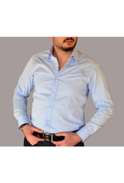Chamis France Slimfit Polat Yaka Açık Mavi Saten Gömlek